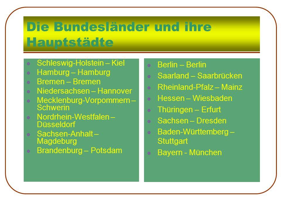 Die Bundesländer und ihre Hauptstädte Schleswig-Holstein – Kiel Hamburg – Hamburg Bremen – Bremen Niedersachsen – Hannover Mecklenburg-Vorpommern – Sc