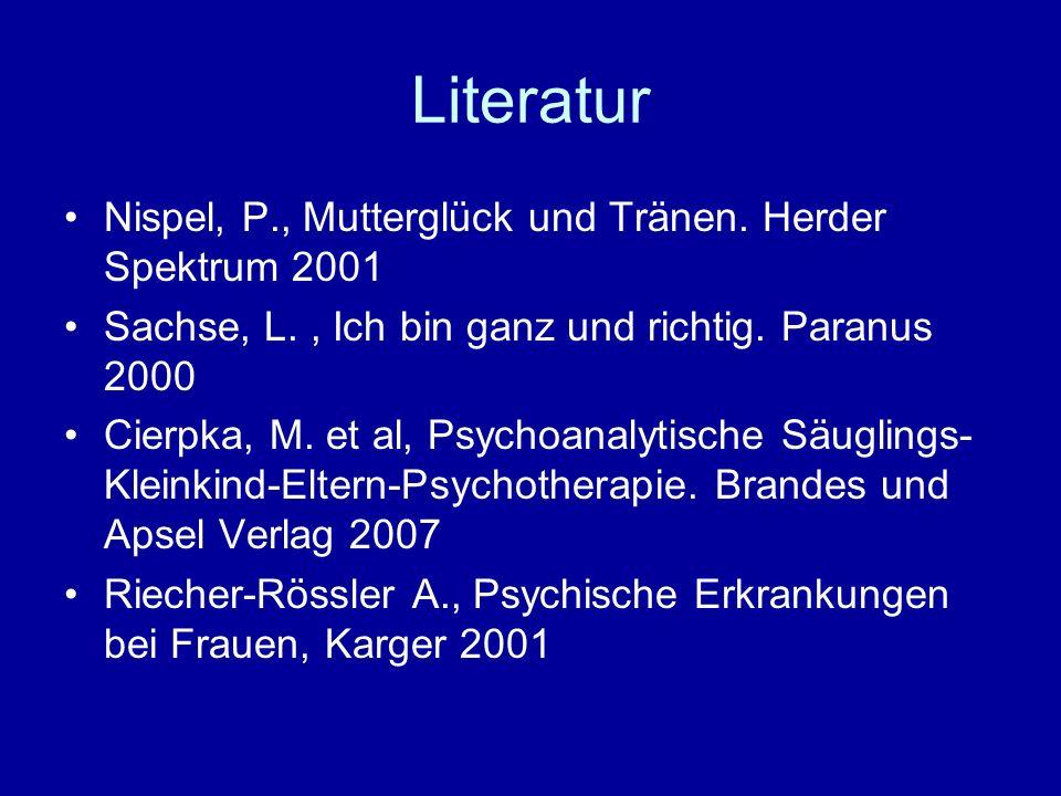 Literatur Nispel, P., Mutterglück und Tränen. Herder Spektrum 2001 Sachse, L., Ich bin ganz und richtig. Paranus 2000 Cierpka, M. et al, Psychoanalyti
