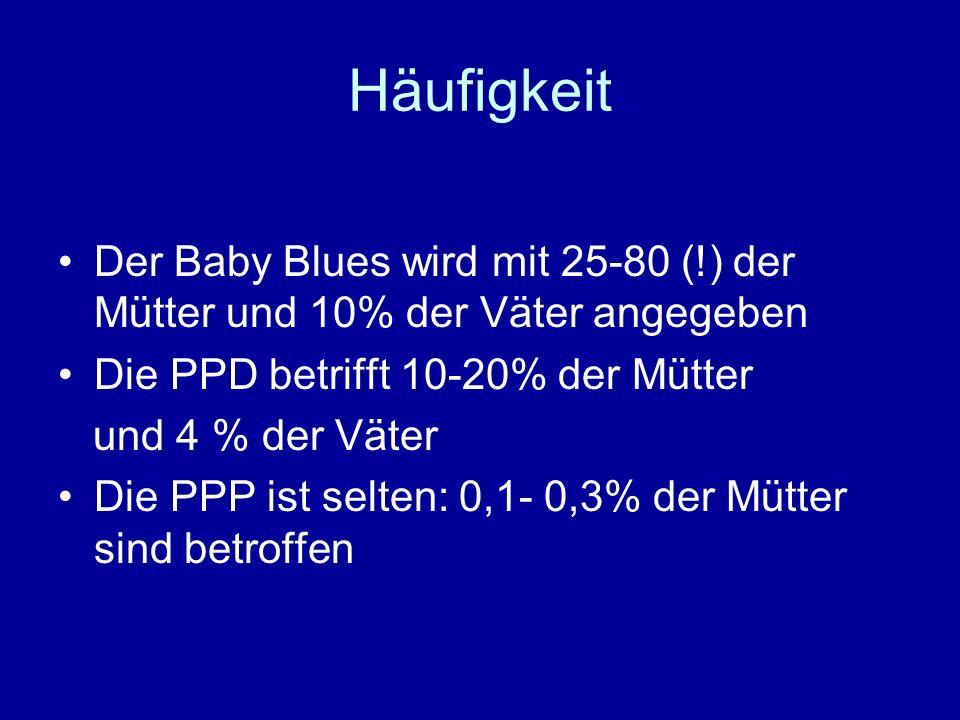 Häufigkeit Der Baby Blues wird mit 25-80 (!) der Mütter und 10% der Väter angegeben Die PPD betrifft 10-20% der Mütter und 4 % der Väter Die PPP ist s