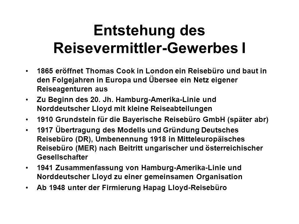 Entstehung des Reisevermittler-Gewerbes I 1865 eröffnet Thomas Cook in London ein Reisebüro und baut in den Folgejahren in Europa und Übersee ein Netz eigener Reiseagenturen aus Zu Beginn des 20.