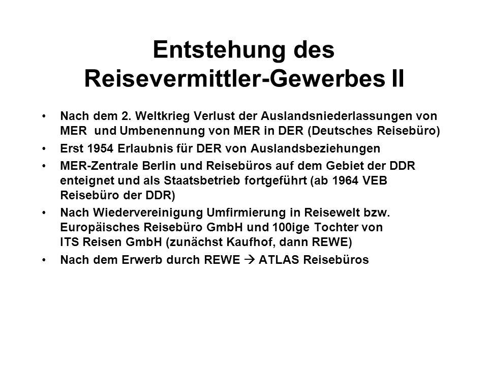 Entstehung des Reisevermittler-Gewerbes II Nach dem 2.