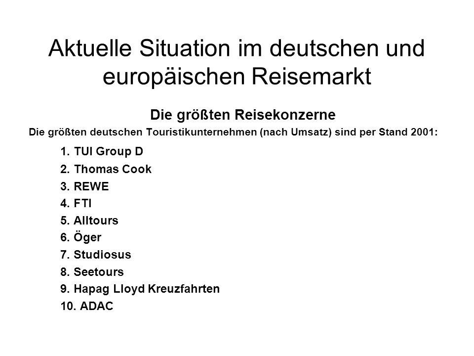 Aktuelle Situation im deutschen und europäischen Reisemarkt Die größten Reisekonzerne Die größten deutschen Touristikunternehmen (nach Umsatz) sind per Stand 2001: 1.