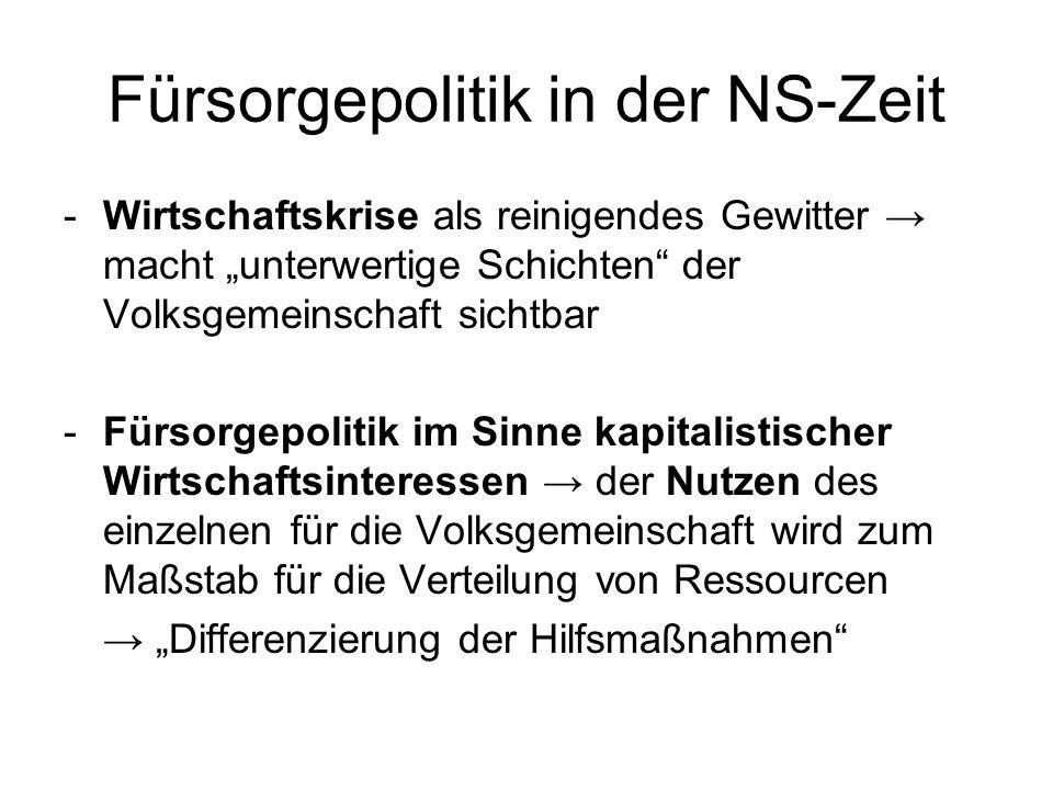 Fürsorgepolitik in der NS-Zeit -Wirtschaftskrise als reinigendes Gewitter macht unterwertige Schichten der Volksgemeinschaft sichtbar -Fürsorgepolitik