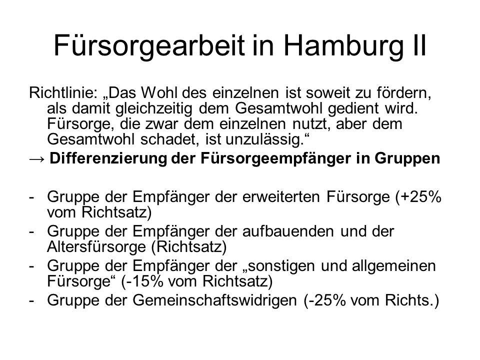 Fürsorgearbeit in Hamburg II Richtlinie: Das Wohl des einzelnen ist soweit zu fördern, als damit gleichzeitig dem Gesamtwohl gedient wird. Fürsorge, d