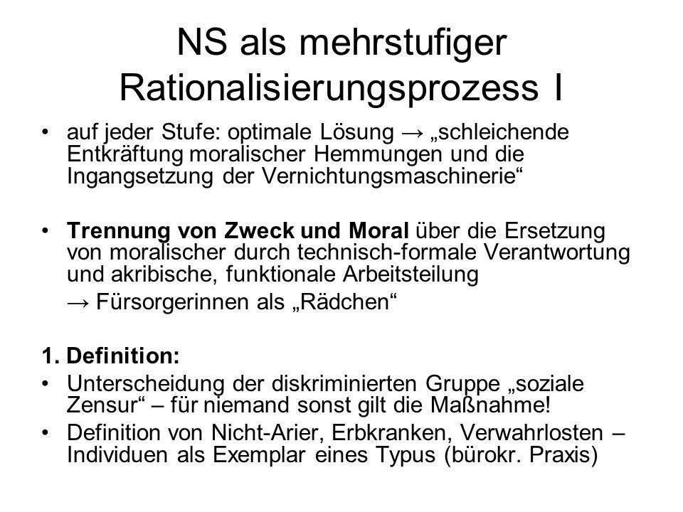 NS als mehrstufiger Rationalisierungsprozess I auf jeder Stufe: optimale Lösung schleichende Entkräftung moralischer Hemmungen und die Ingangsetzung d