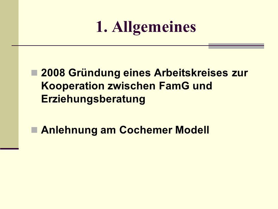 1. Allgemeines 2008 Gründung eines Arbeitskreises zur Kooperation zwischen FamG und Erziehungsberatung Anlehnung am Cochemer Modell