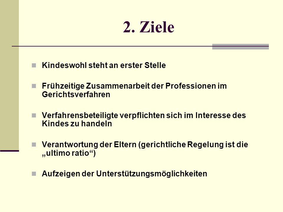 2. Ziele Kindeswohl steht an erster Stelle Frühzeitige Zusammenarbeit der Professionen im Gerichtsverfahren Verfahrensbeteiligte verpflichten sich im
