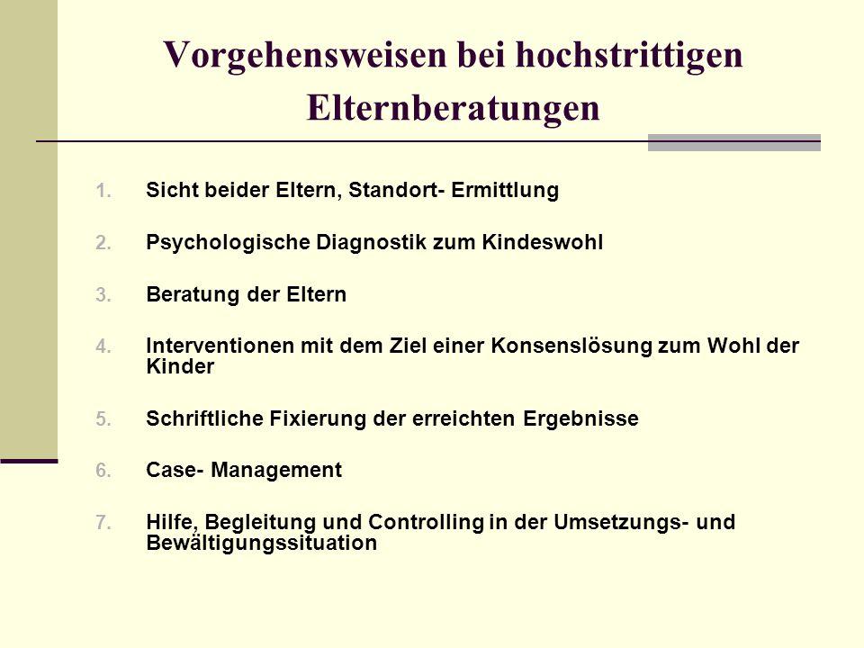 Vorgehensweisen bei hochstrittigen Elternberatungen 1. Sicht beider Eltern, Standort- Ermittlung 2. Psychologische Diagnostik zum Kindeswohl 3. Beratu
