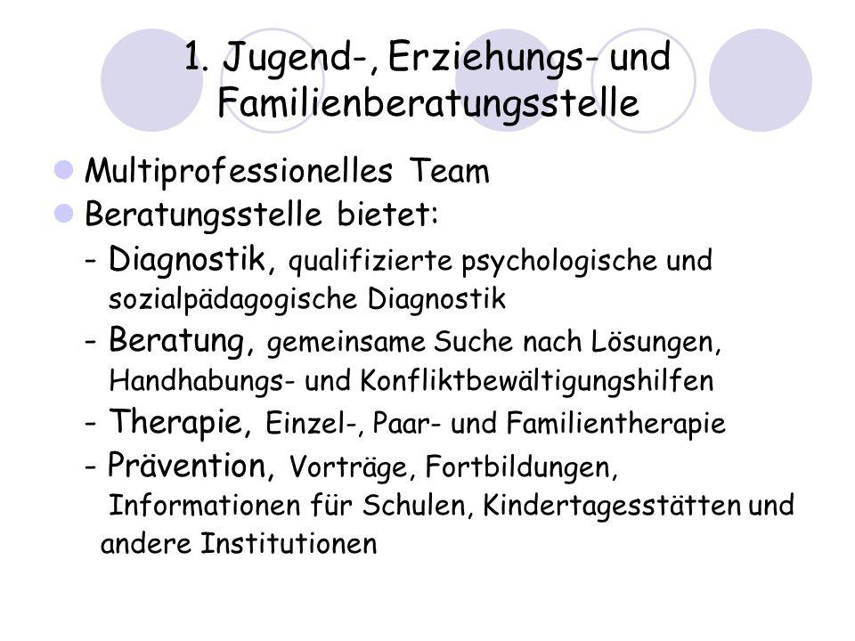 1. Jugend-, Erziehungs- und Familienberatungsstelle Multiprofessionelles Team Beratungsstelle bietet: - Diagnostik, qualifizierte psychologische und s