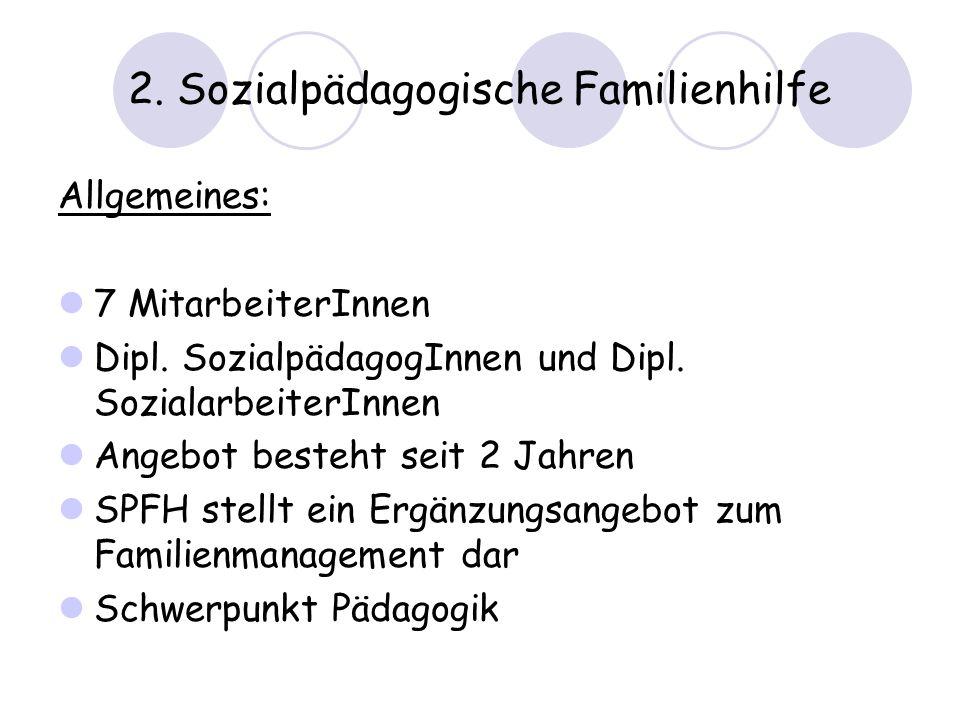 2. Sozialpädagogische Familienhilfe Allgemeines: 7 MitarbeiterInnen Dipl. SozialpädagogInnen und Dipl. SozialarbeiterInnen Angebot besteht seit 2 Jahr