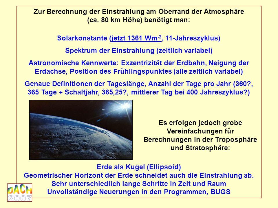 Zur Berechnung der Einstrahlung am Oberrand der Atmosphäre (ca.