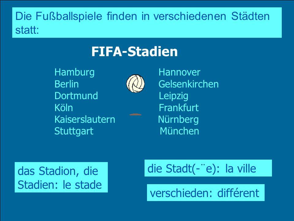 Die Fußballspiele finden in verschiedenen Städten statt: das Stadion, die Stadien: le stade Hamburg Hannover Berlin Gelsenkirchen Dortmund Leipzig Köl