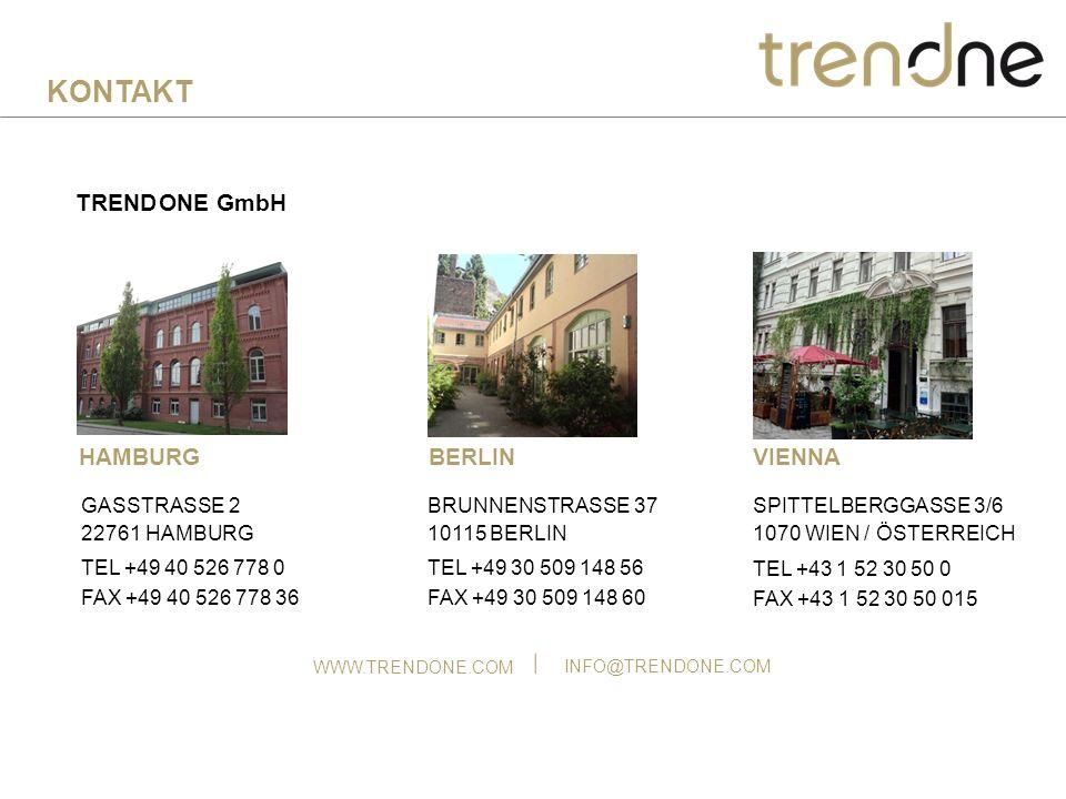 TREND ONE GmbH HAMBURG GASSTRASSE 2 22761 HAMBURG TEL +49 40 526 778 0 FAX +49 40 526 778 36 WWW.TRENDONE.COM INFO@TRENDONE.COM TEL +49 30 509 148 56 FAX +49 30 509 148 60 BRUNNENSTRASSE 37 10115 BERLIN BERLIN KONTAKT SPITTELBERGGASSE 3/6 1070 WIEN / ÖSTERREICH TEL +43 1 52 30 50 0 FAX +43 1 52 30 50 015 VIENNA