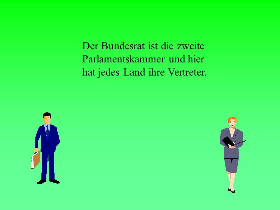 Das deutsche Parlament hat zwei KAMMERN Bundestag Bundesrat