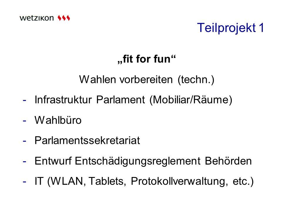 Teilprojekt 1 fit for fun Wahlen vorbereiten (techn.) -Infrastruktur Parlament (Mobiliar/Räume) -Wahlbüro -Parlamentssekretariat -Entwurf Entschädigungsreglement Behörden -IT (WLAN, Tablets, Protokollverwaltung, etc.)