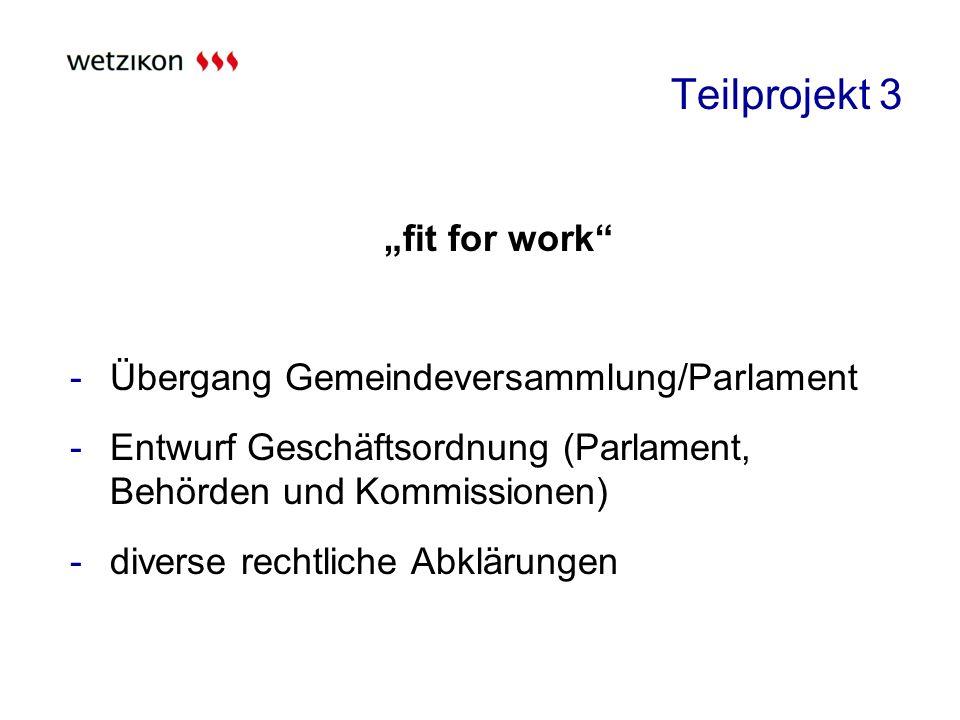 Teilprojekt 3 fit for work -Übergang Gemeindeversammlung/Parlament -Entwurf Geschäftsordnung (Parlament, Behörden und Kommissionen) -diverse rechtliche Abklärungen