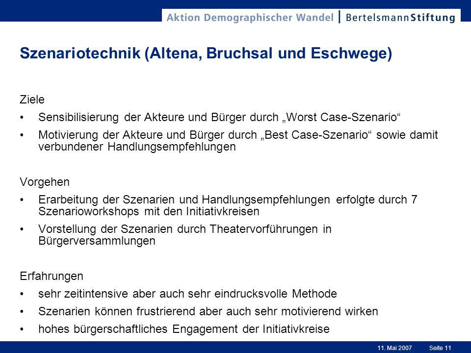 11. Mai 2007Seite 11 Szenariotechnik (Altena, Bruchsal und Eschwege) Ziele Sensibilisierung der Akteure und Bürger durch Worst Case-Szenario Motivieru