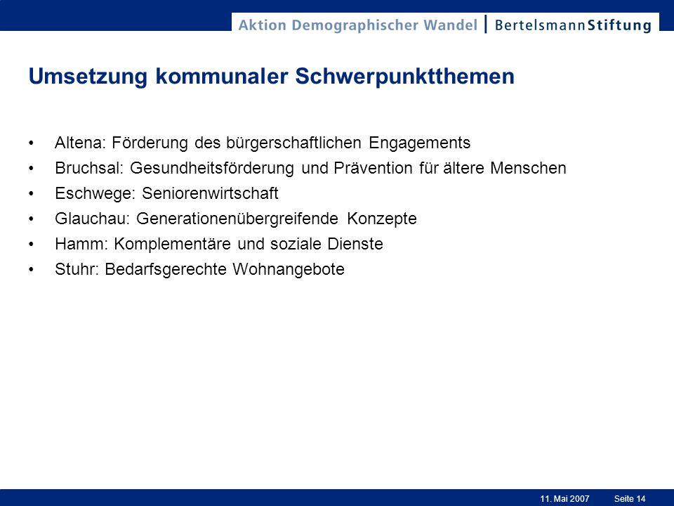 11. Mai 2007Seite 14 Umsetzung kommunaler Schwerpunktthemen Altena: Förderung des bürgerschaftlichen Engagements Bruchsal: Gesundheitsförderung und Pr
