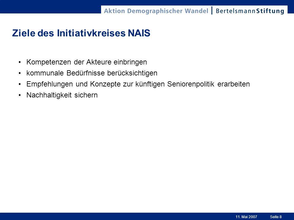 11. Mai 2007Seite 8 Ziele des Initiativkreises NAIS Kompetenzen der Akteure einbringen kommunale Bedürfnisse berücksichtigen Empfehlungen und Konzepte