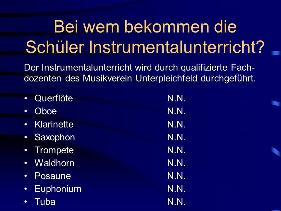 Schulorganisation Zwei Stunden Orchesterunterricht - Bläserklasse, jeweils Mittwochs, 14.00 bis 15.00 Uhr Eine Stunde Instrumentalunterricht in Regist