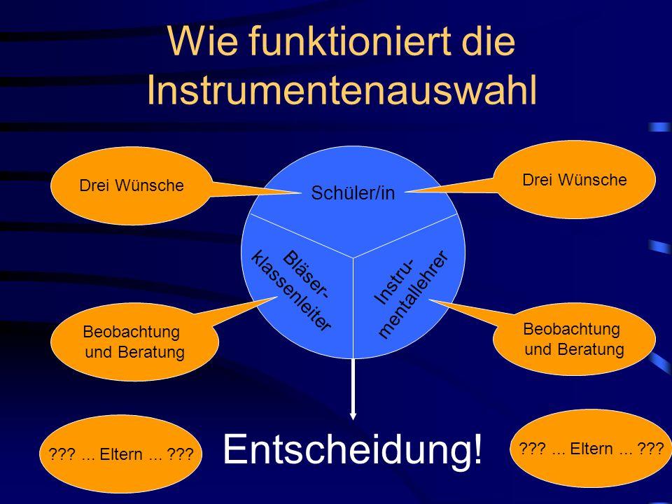 Welche Instrumente gibt es? Querflöten Oboen Klarinetten Saxophone Trompeten / Cornetts Waldhörner Posaunen Euphonien Tuben Schlagzeug (Seiteneinsteig