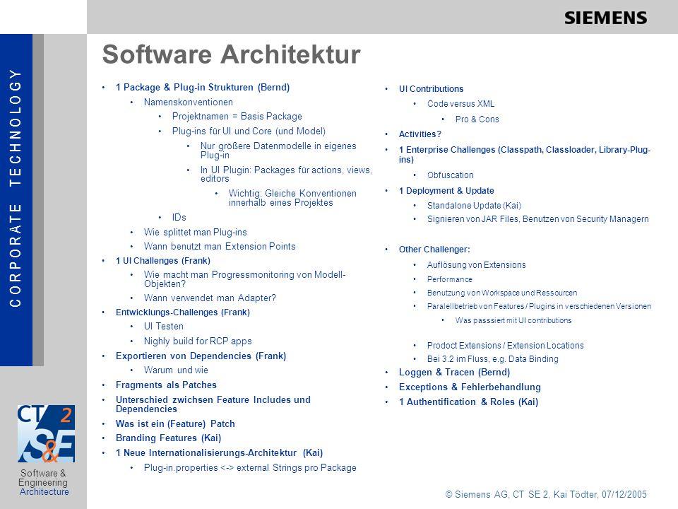 C O R P O R A T E T E C H N O L O G Y © Siemens AG, CT SE 2, Kai Tödter, 07/12/2005 Software & Engineering Architecture Diskussion