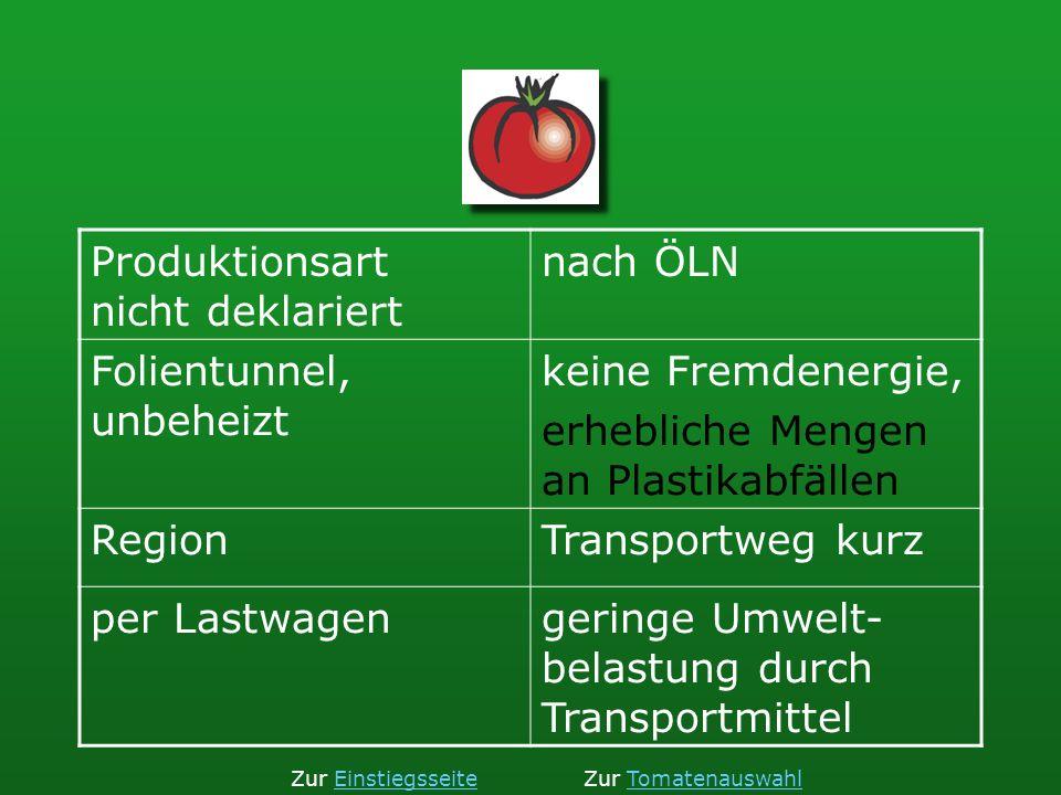 Produktionsart nicht deklariert nach ÖLN Folientunnel, unbeheizt keine Fremdenergie, erhebliche Mengen an Plastikabfällen RegionTransportweg kurz per