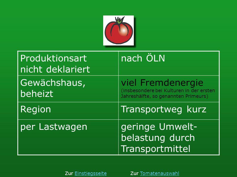 Produktionsart nicht deklariert nach ÖLN Gewächshaus, beheizt viel Fremdenergie (insbesondere bei Kulturen in der ersten Jahreshälfte, so genannten Pr