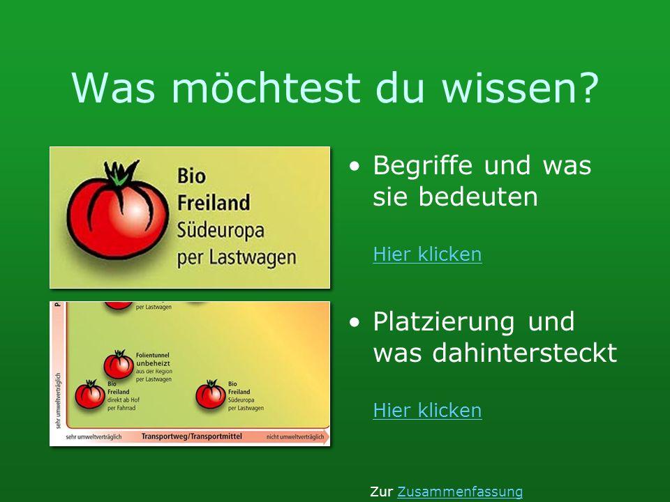 Bio Suisseumweltverträgliche Produktion Gewächshaus, nur frostfrei relativ viel Fremdenergie RegionTransportweg kurz per Lastwagengeringe Umwelt- belastung durch Transportmittel Zur TomatenauswahlTomatenauswahlZur Einstiegsseite