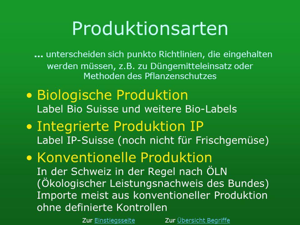 Produktionsarten... unterscheiden sich punkto Richtlinien, die eingehalten werden müssen, z.B. zu Düngemitteleinsatz oder Methoden des Pflanzenschutze