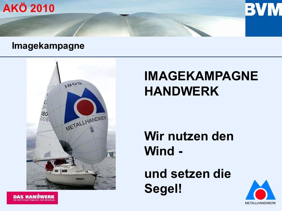 1 AKÖ 2010 IMAGEKAMPAGNE HANDWERK Wir nutzen den Wind - und setzen die Segel! Imagekampagne