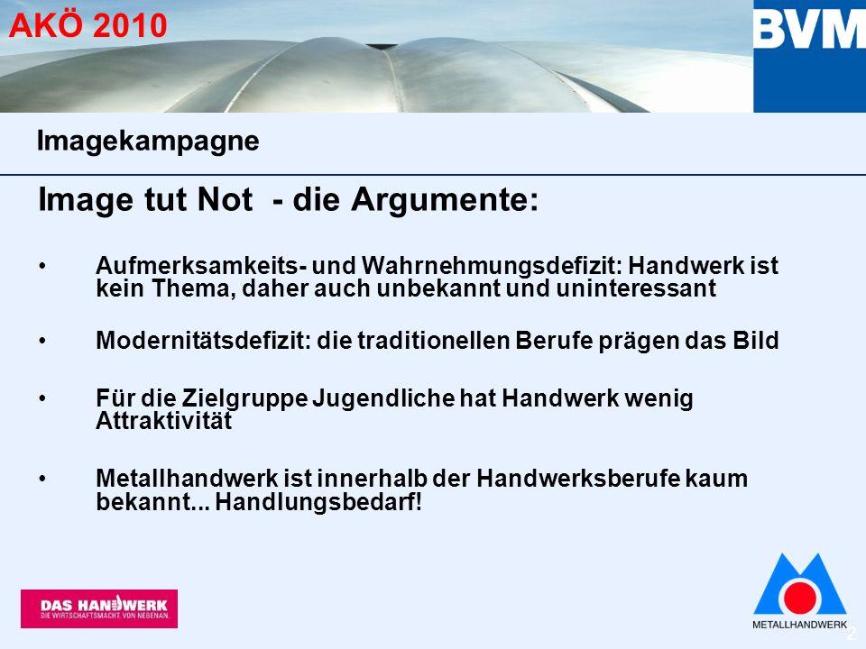 3 AKÖ 2010 Metallhandwerk war bei der Imagekampagne gefragt BVM hat sich an zentraler Stelle eingebracht bei Motivauswahl (Fotoshooting Arena München) Briefing zu Berufsinhalten Beschreibung Arbeitssituationen Fotoshootings (Kontakte) Imagekampagne