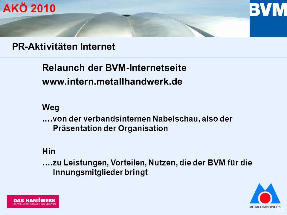 23 AKÖ 2010 Relaunch der BVM-Internetseite www.intern.metallhandwerk.de Weg.…von der verbandsinternen Nabelschau, also der Präsentation der Organisation Hin ….zu Leistungen, Vorteilen, Nutzen, die der BVM für die Innungsmitglieder bringt PR-Aktivitäten Internet