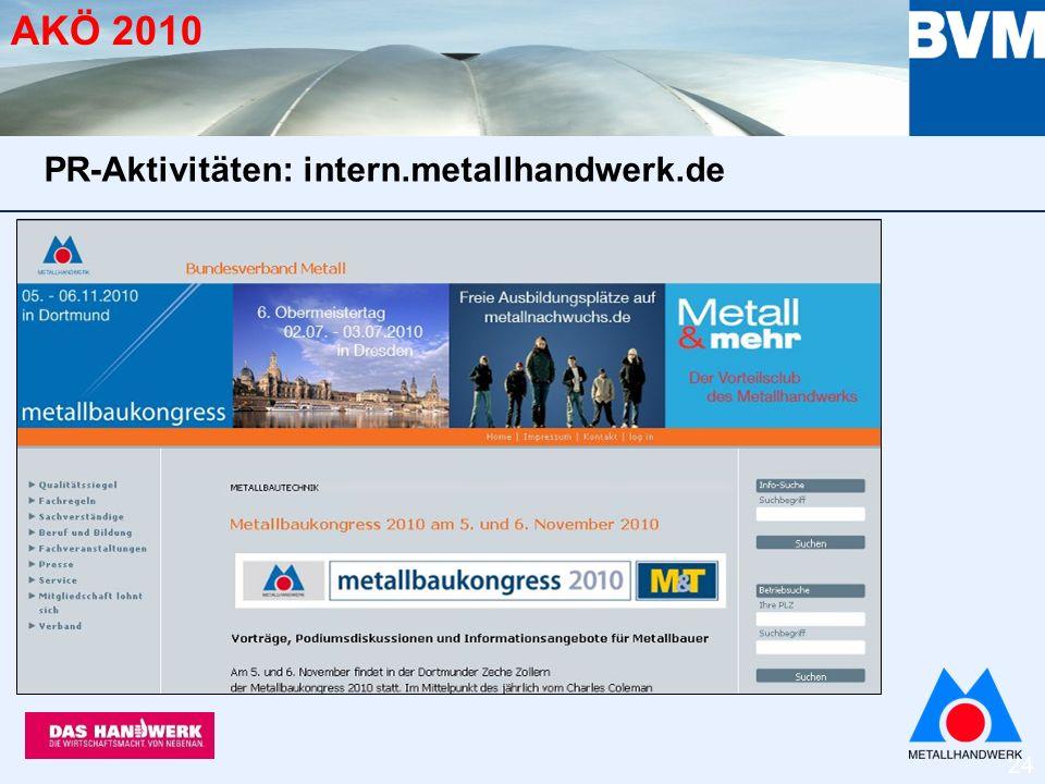 24 AKÖ 2010 PR-Aktivitäten: intern.metallhandwerk.de