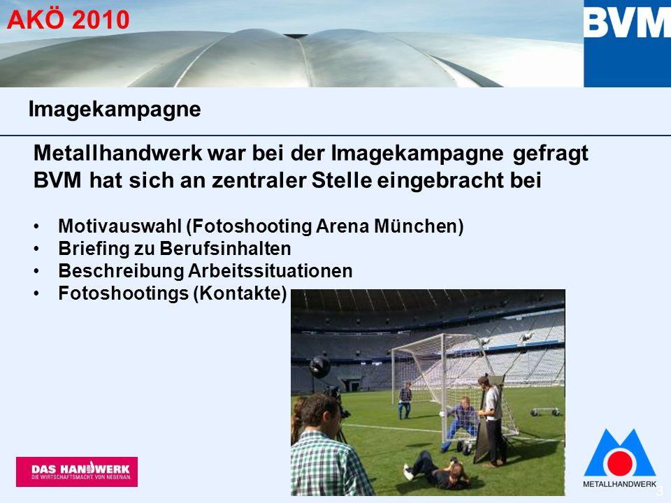 14 AKÖ 2010 plus: Vernetzung der Kampagne im Internet auf metallhandwerk.de 1.100 Besucher/Tag Imagekampagne