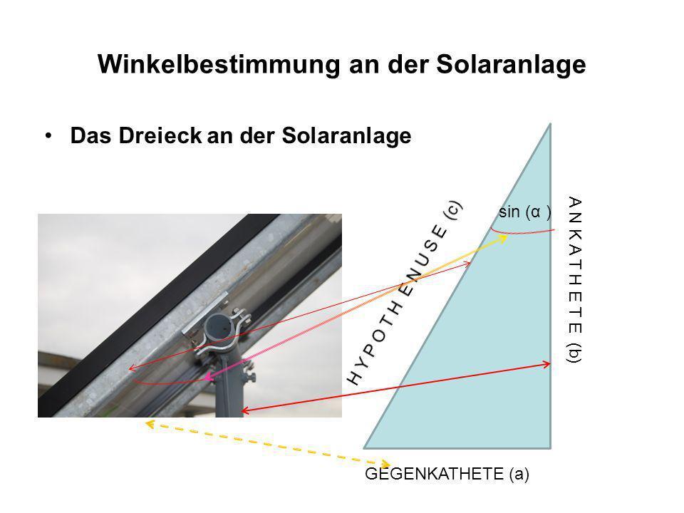Winkelbestimmung an der Solaranlage Daten: Länge des Moduls: 144 cm Tiefe: 3,5 cm Breite: 65 cm