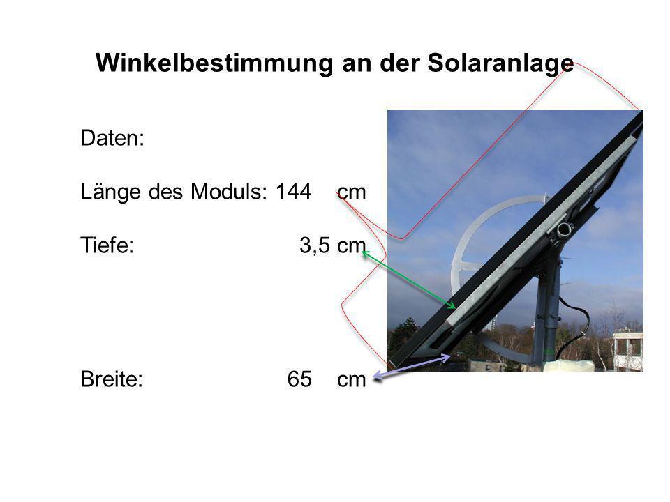 Winkelbestimmung an der Solaranlage Der Neigungswinkel wird vorgegeben: 30 0 ; 45 0 ; 60 0 Die Hypotenuse wird an der unteren Kante gemessen.