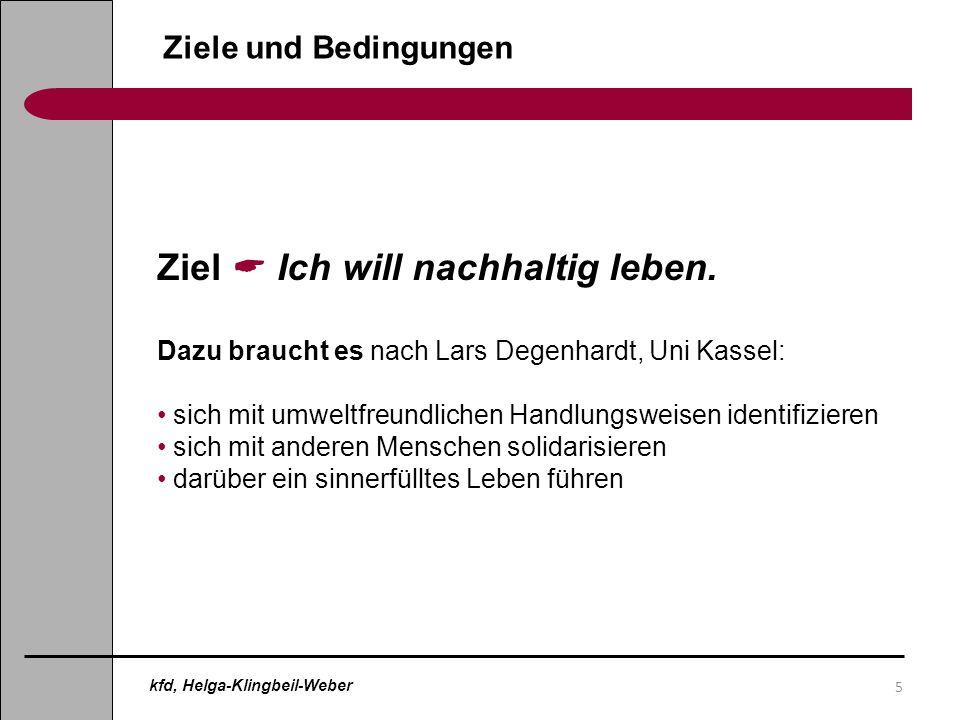 16 Hindernisse für einen nachhaltigen Konsum Einschätzung der Wichtigkeit von Hemmnissen bezogen auf Lebensmittel: Angebot 16 % Anreize (zu teuer) 36 % Informationen (weiß nicht) 8% Einstellungen 27 % Konsequenzen ( glaube nicht) 8% Nachhaltiger Konsum Quelle: Verbraucherbefragung des Ministeriums für Ernährung im ländlichen Raum, Oktober 2009 kfd, Helga-Klingbeil-Weber