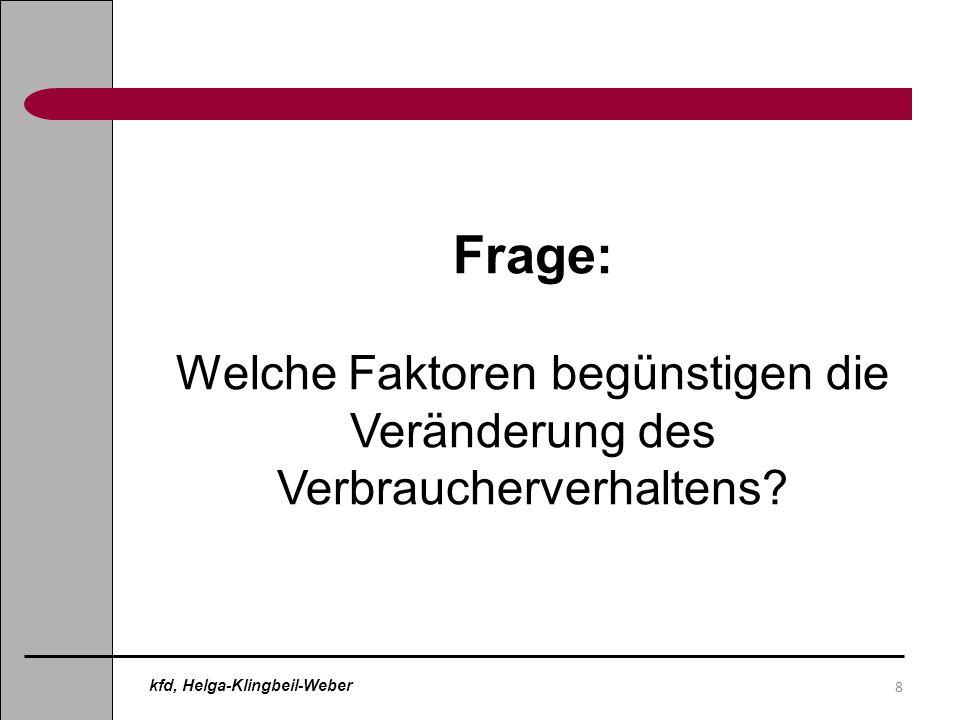 8 Frage: Welche Faktoren begünstigen die Veränderung des Verbraucherverhaltens? kfd, Helga-Klingbeil-Weber