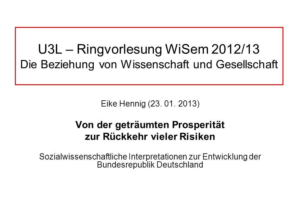 U3L – Ringvorlesung WiSem 2012/13 Die Beziehung von Wissenschaft und Gesellschaft Eike Hennig (23. 01. 2013) Von der geträumten Prosperität zur Rückke