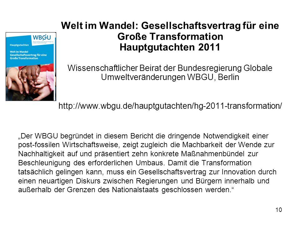 10 Welt im Wandel: Gesellschaftsvertrag für eine Große Transformation Hauptgutachten 2011 Wissenschaftlicher Beirat der Bundesregierung Globale Umwelt