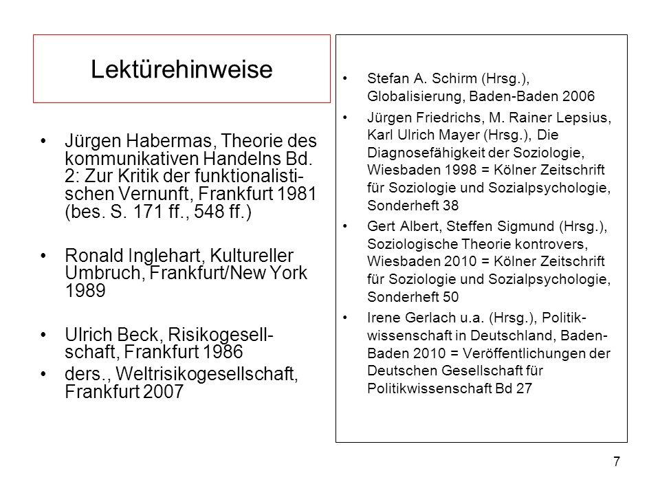 7 Lektürehinweise Jürgen Habermas, Theorie des kommunikativen Handelns Bd. 2: Zur Kritik der funktionalisti- schen Vernunft, Frankfurt 1981 (bes. S. 1