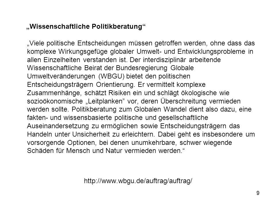 9 http://www.wbgu.de/auftrag/auftrag/ Wissenschaftliche Politikberatung Viele politische Entscheidungen müssen getroffen werden, ohne dass das komplex