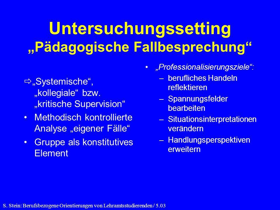 Untersuchungssetting Pädagogische Fallbesprechung Systemische, kollegiale bzw.