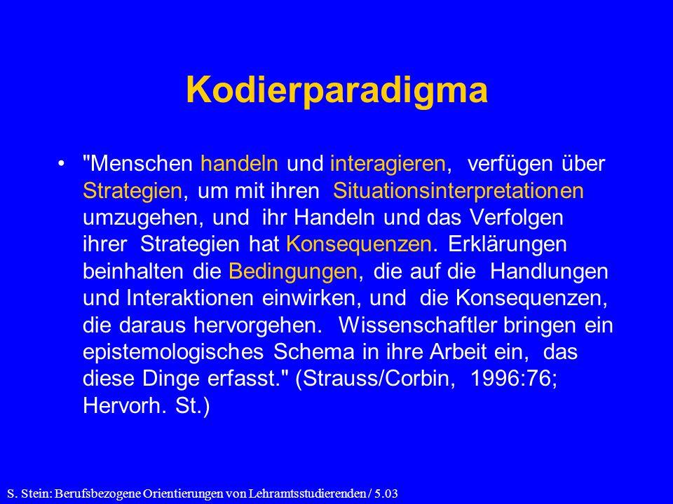 Kodierparadigma Menschen handeln und interagieren, verfügen über Strategien, um mit ihren Situationsinterpretationen umzugehen, und ihr Handeln und das Verfolgen ihrer Strategien hat Konsequenzen.
