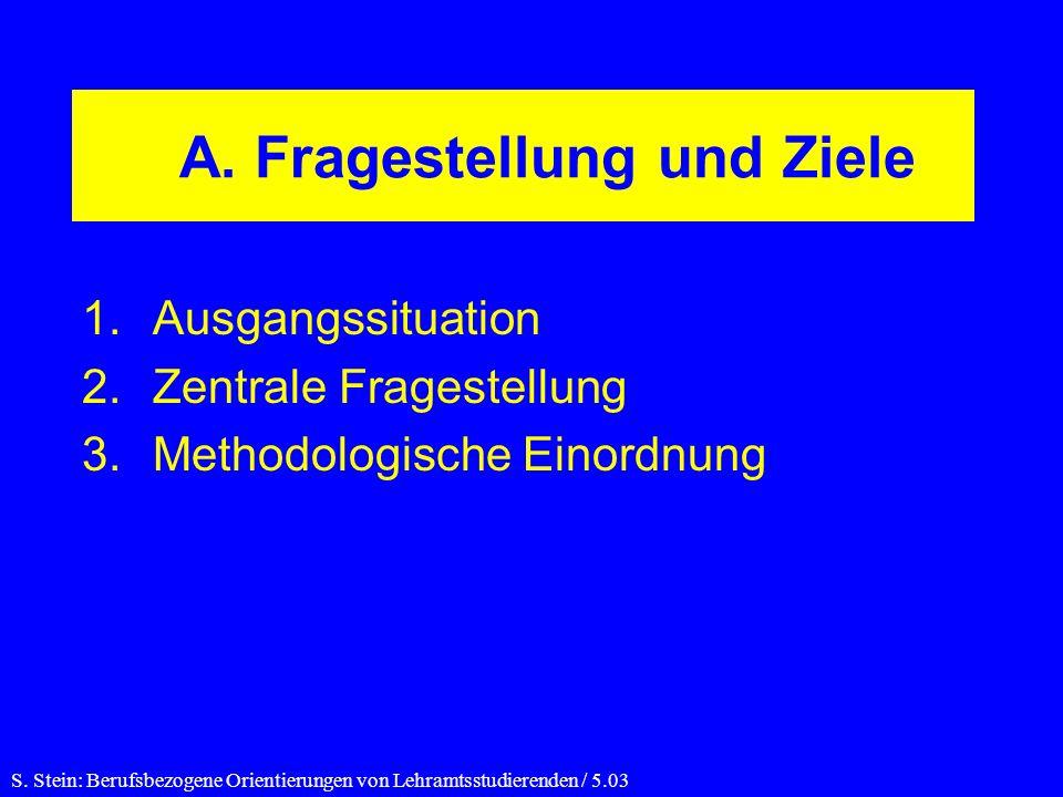 A. Fragestellung und Ziele 1.Ausgangssituation 2.Zentrale Fragestellung 3.Methodologische Einordnung S. Stein: Berufsbezogene Orientierungen von Lehra