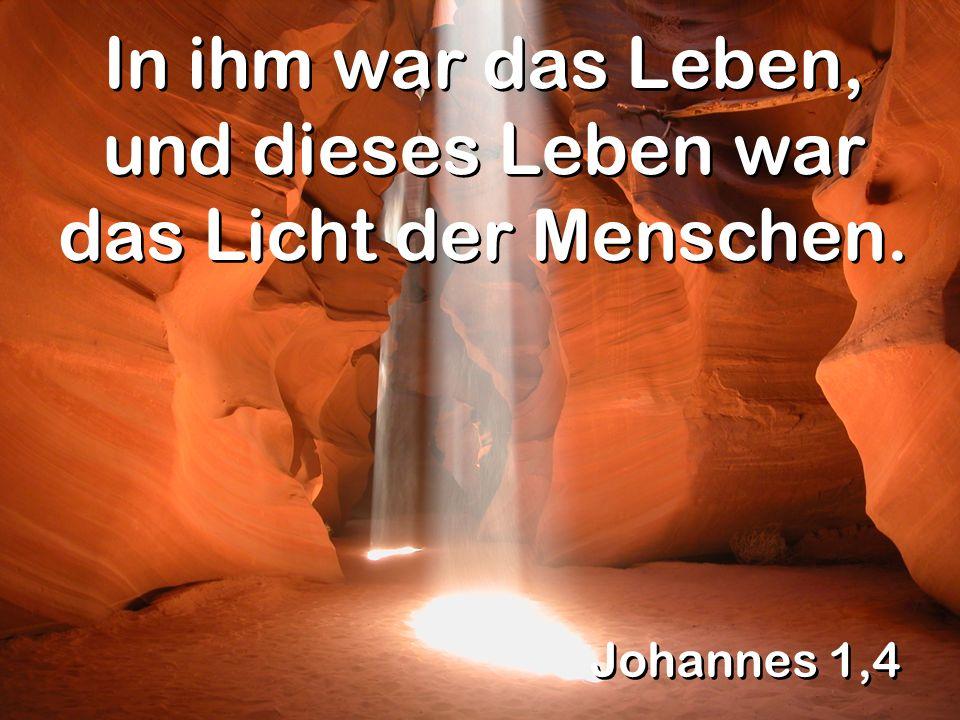 Johannes 1,4 In ihm war das Leben, und dieses Leben war das Licht der Menschen.