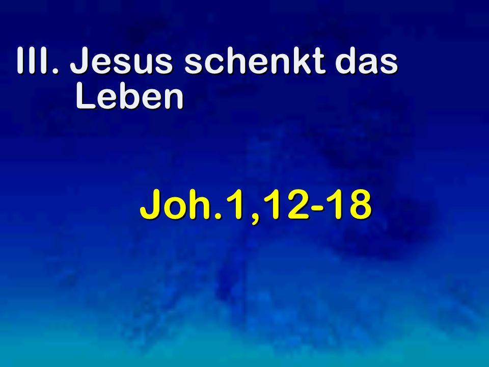 III. Jesus schenkt das Leben Joh.1,12-18