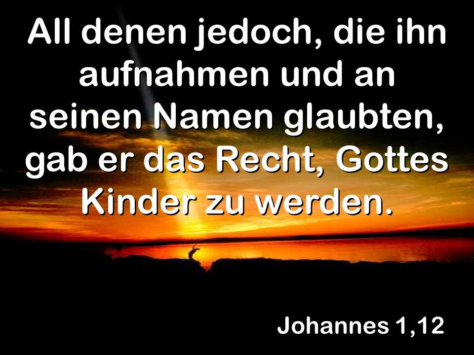 Johannes 1,12 All denen jedoch, die ihn aufnahmen und an seinen Namen glaubten, gab er das Recht, Gottes Kinder zu werden.