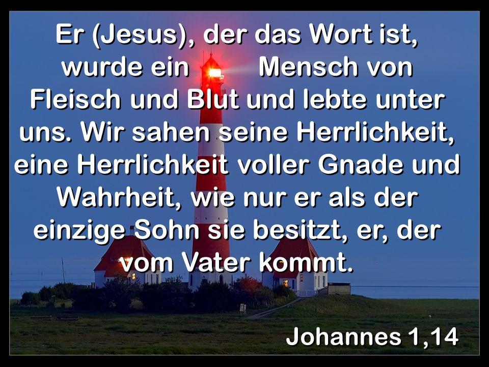 Johannes 1,14 Er (Jesus), der das Wort ist, wurde ein Mensch von Fleisch und Blut und lebte unter uns. Wir sahen seine Herrlichkeit, eine Herrlichkeit
